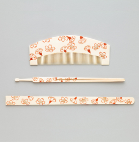 Ivory Comb, hairpin and bodkin with cherry blossoms.