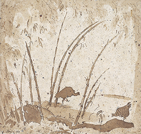 "Bernard Leach ""Chickens in Bamboo Forest"", squid ink on paper(1955)"