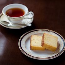 Tea and Special Asahi Beer wine cake